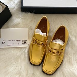 Authentic preowned Gucci shoes gold loafers
